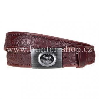 Kožený pásek - opasek 3,5cm prošitý s kovovou přezkou a zdobený ražbou - hnědý
