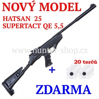 Vzduchová pistole Hatsan 25 SUPERTACT QE - 5,5 mm + terče zdarma