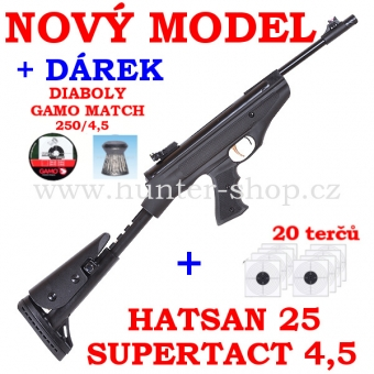 Vzduchová pistole Hatsan 25 SUPERTACT - 4,5 mm + 20x terče + 1x diabolky zdarma