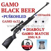 Vzduchovka Gamo BLACK BEAR /4,5 + puškohled GAMO 4x32 + 100 terčů + diabolky Gamo Match 250ks zdarma