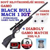 Vzduchovka Gamo BLACK BULL MACH 1 IGT /4,5 + puškohled  GAMO 4x32 + 10 terčů + diabolky Gamo Match 250ks zdarma