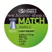 Diaboly - diabolky JSB Match LIGHT WEIGHT - 500 / 4,51 mm