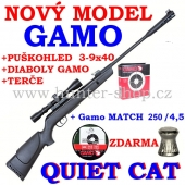 Vzduchovka Gamo QUIET CAT  /4,5 + puškohled GAMO 3 - 9 x 40 + 1x diaboly Gamo + 100 terčů GAMO