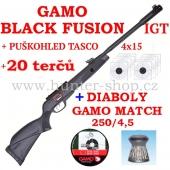 Vzduchovka Gamo BLACK FUSION IGT MACH 1 /4,5 + puškohled TASCO 4x15 + 20 terčů + diabolky Gamo Match 250ks zdarma