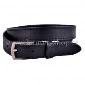 Myslivecký kožený pásek - opasek 3 cm hladký 1x prošitý - černý