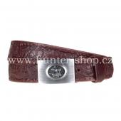 Myslivecký kožený pásek - opasek 3,5cm prošitý s kovovou přezkou a zdobený ražbou - hnědý